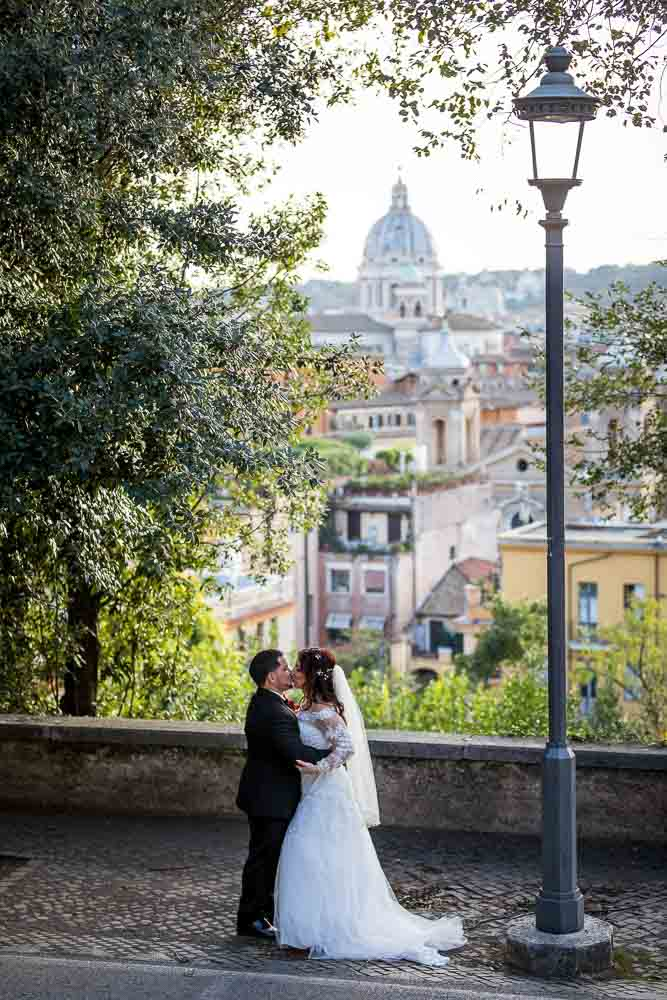 Kissing before the panoramic roman scenic view