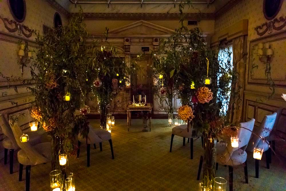 The wedding hall ceremony location in dim light