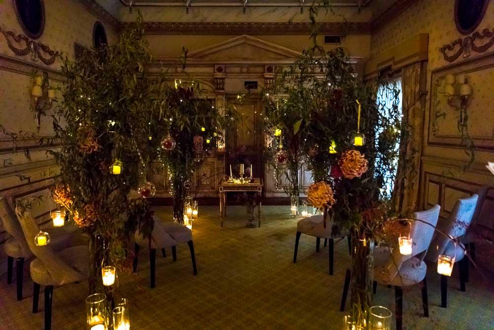 The wedding hall ceremony location in dim light