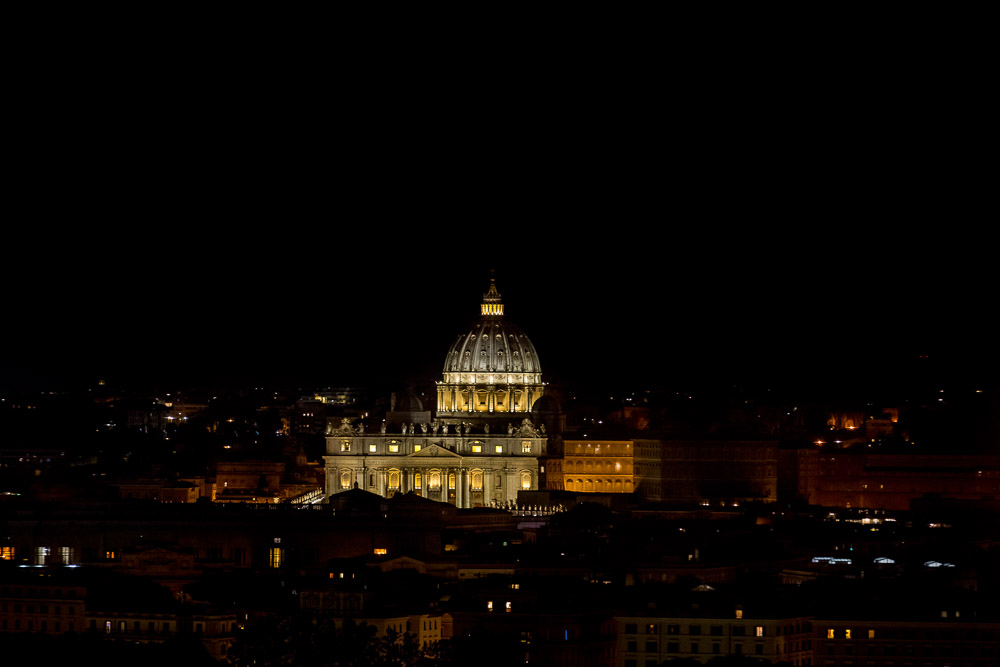 View of the Saint Peter's dome cathedral in the far distance. Rome, Italy