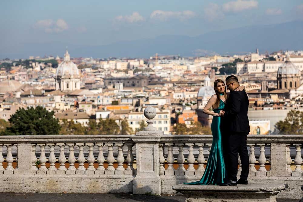 Standing by the sweeping view over the city of Rome photographed from the Janiculum hill