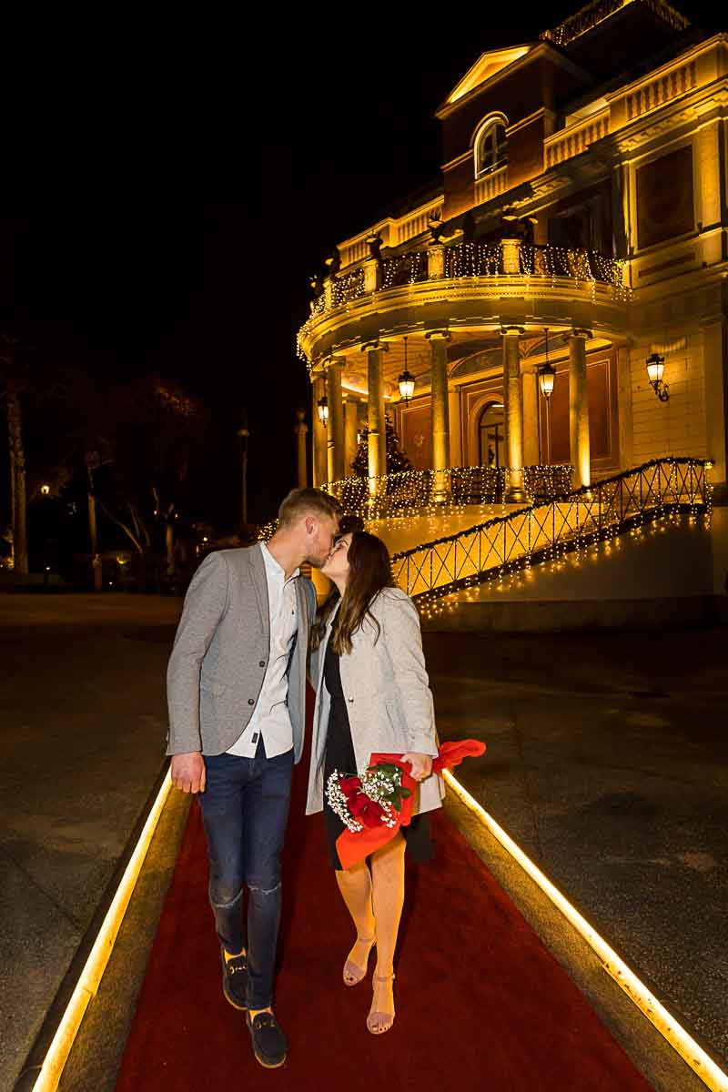 Just engaged in Rome walking on a red carpet