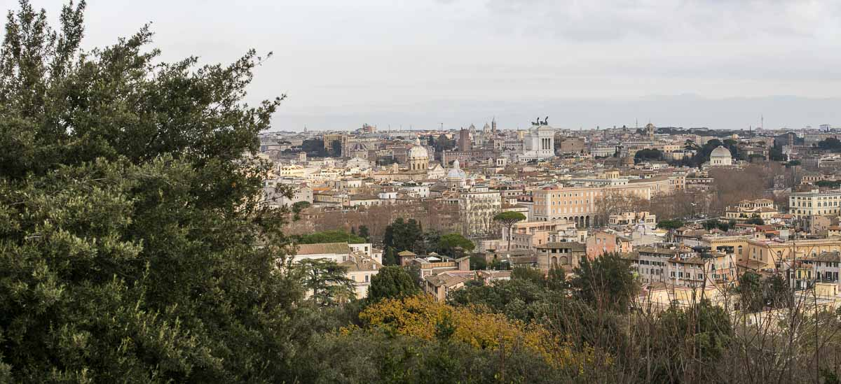 The sweeping view of the city of Rome from the far distance. Mounted panoramic image