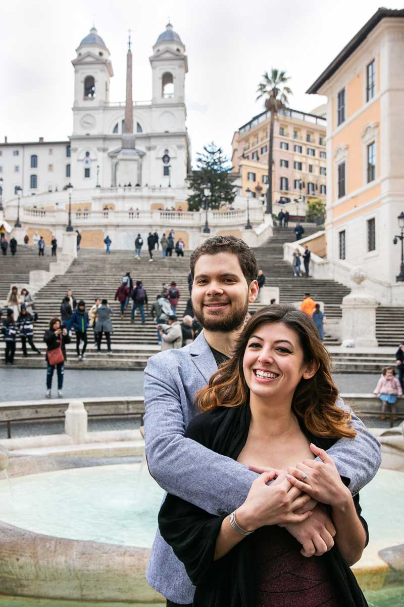 Close up portrait of a newly engaged couple at Piazza di Spagna