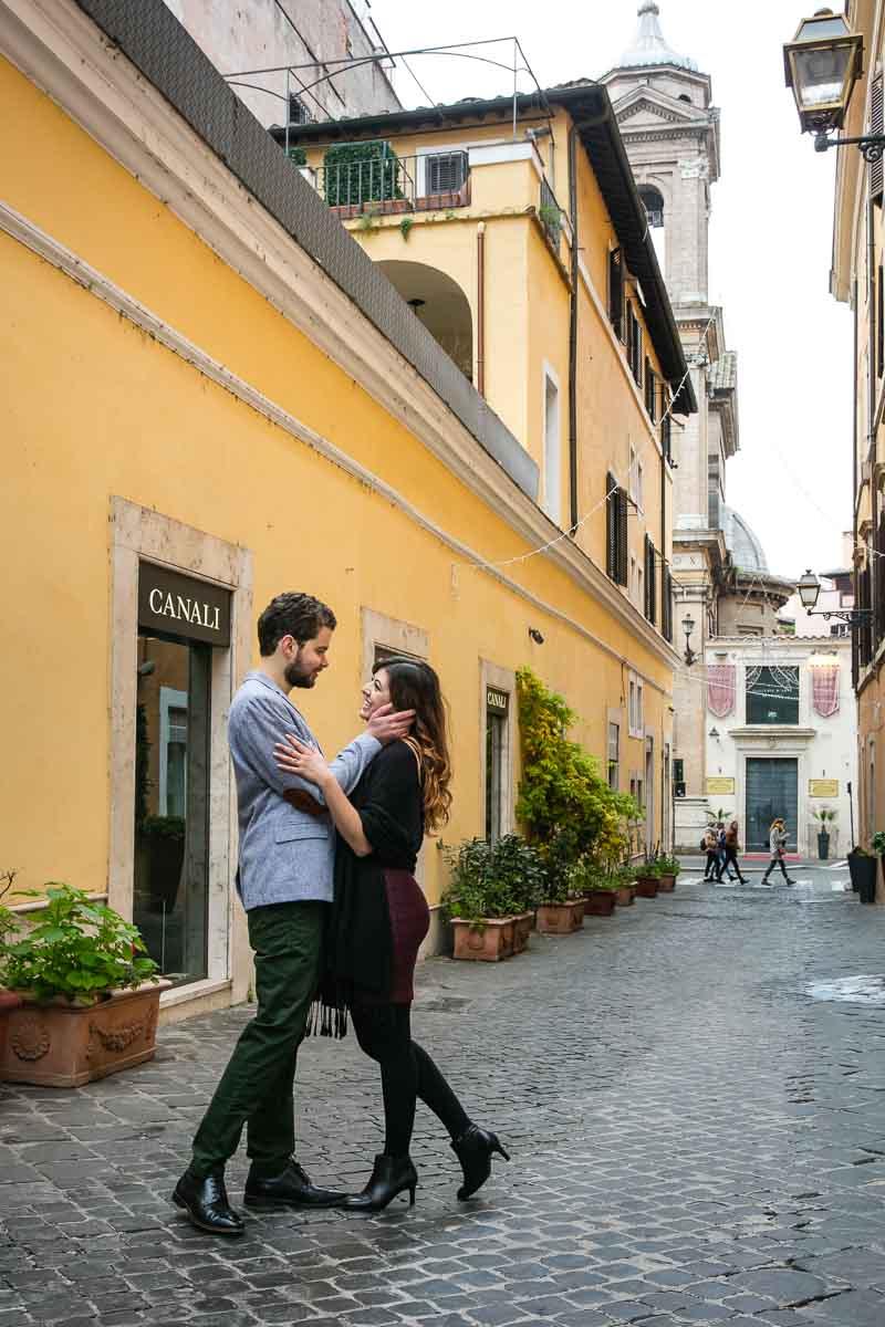 Roman alleyway couple photography