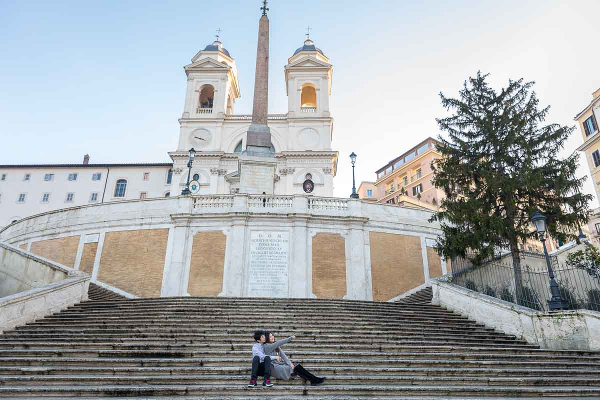 Sitting underneath church Trinita' dei Monti enjoying the view