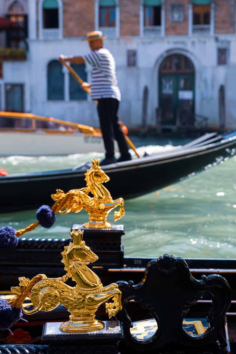 Gondala details. Gondoliers in Venice