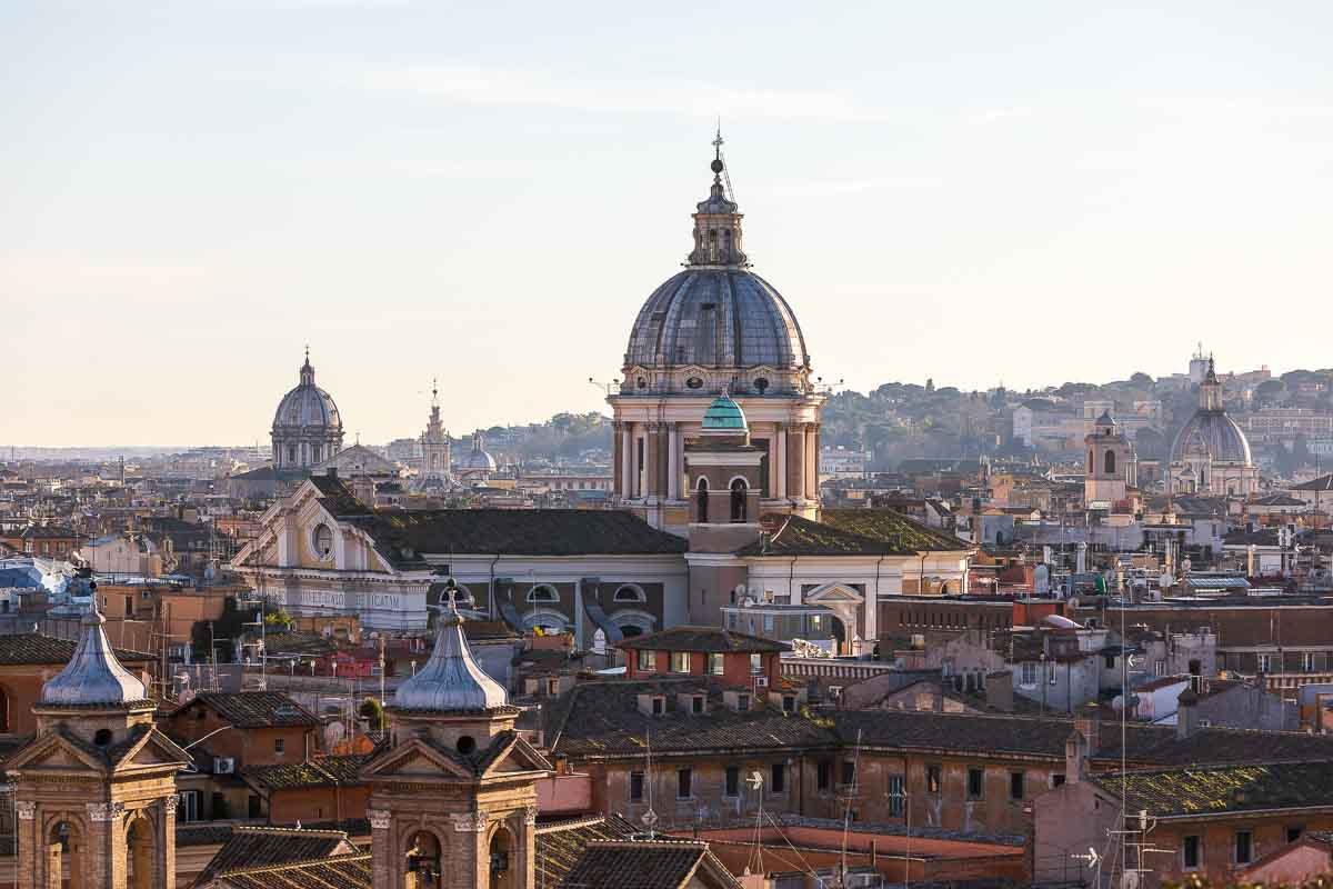The view of the ancient city of Rome seen through Parco del Pincio terrace overlook
