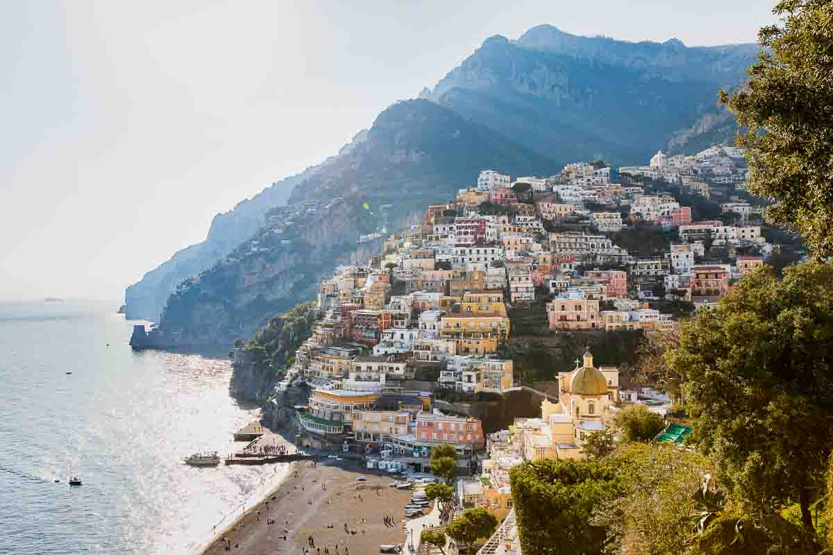 The town of positano at sunset