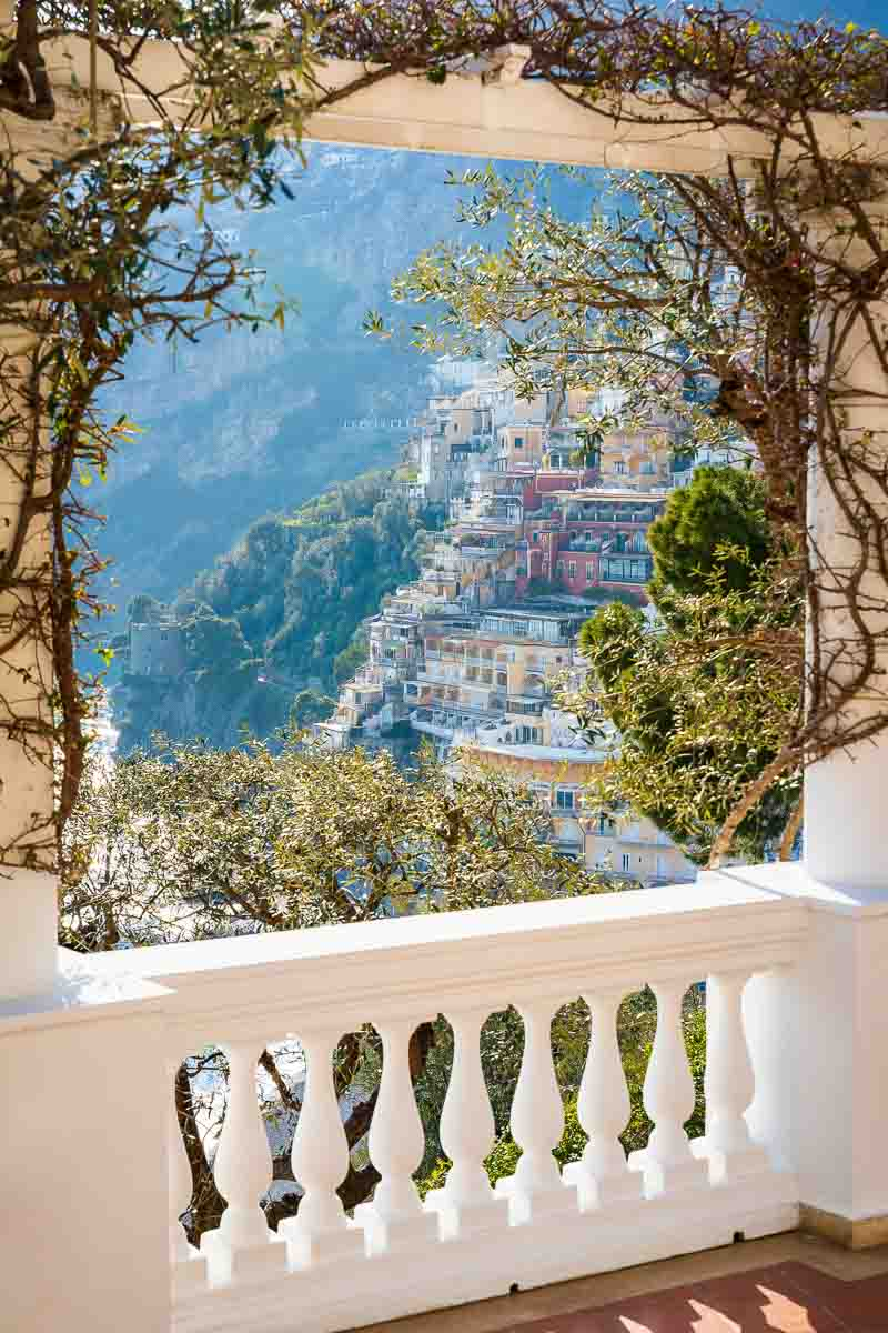 Positano balcony view from a nearby terrace