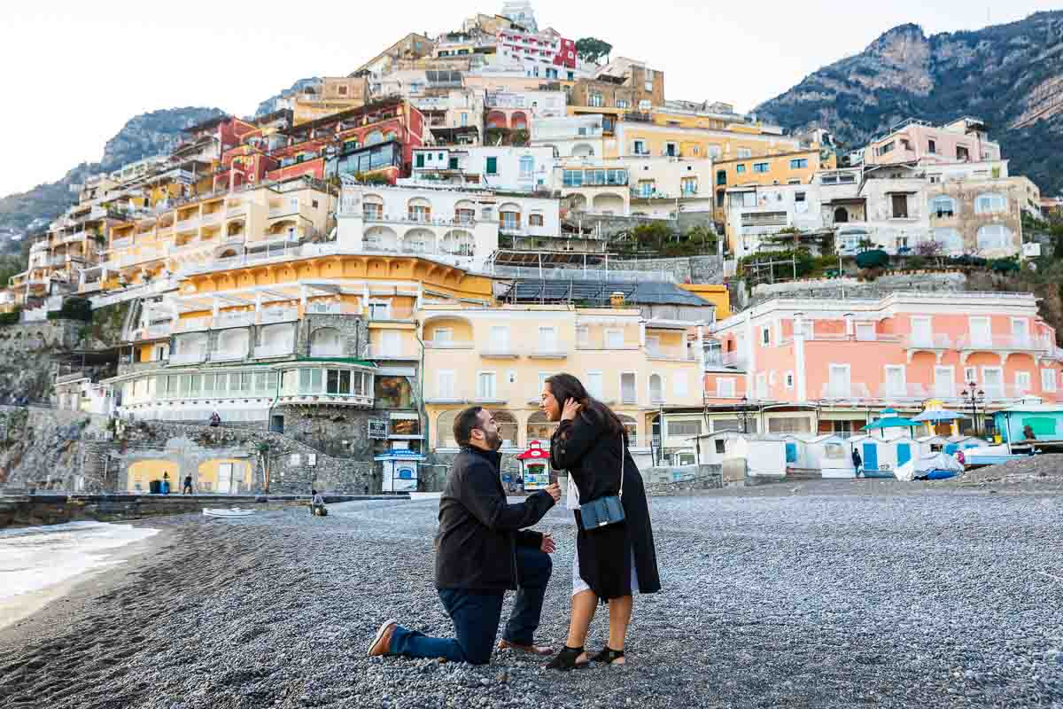 Positano surprise wedding proposal on the beach