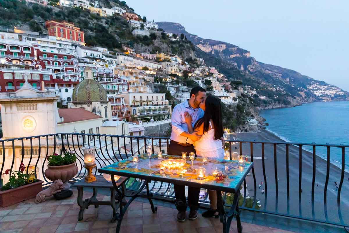 Celebrating engagement on terrace with a view