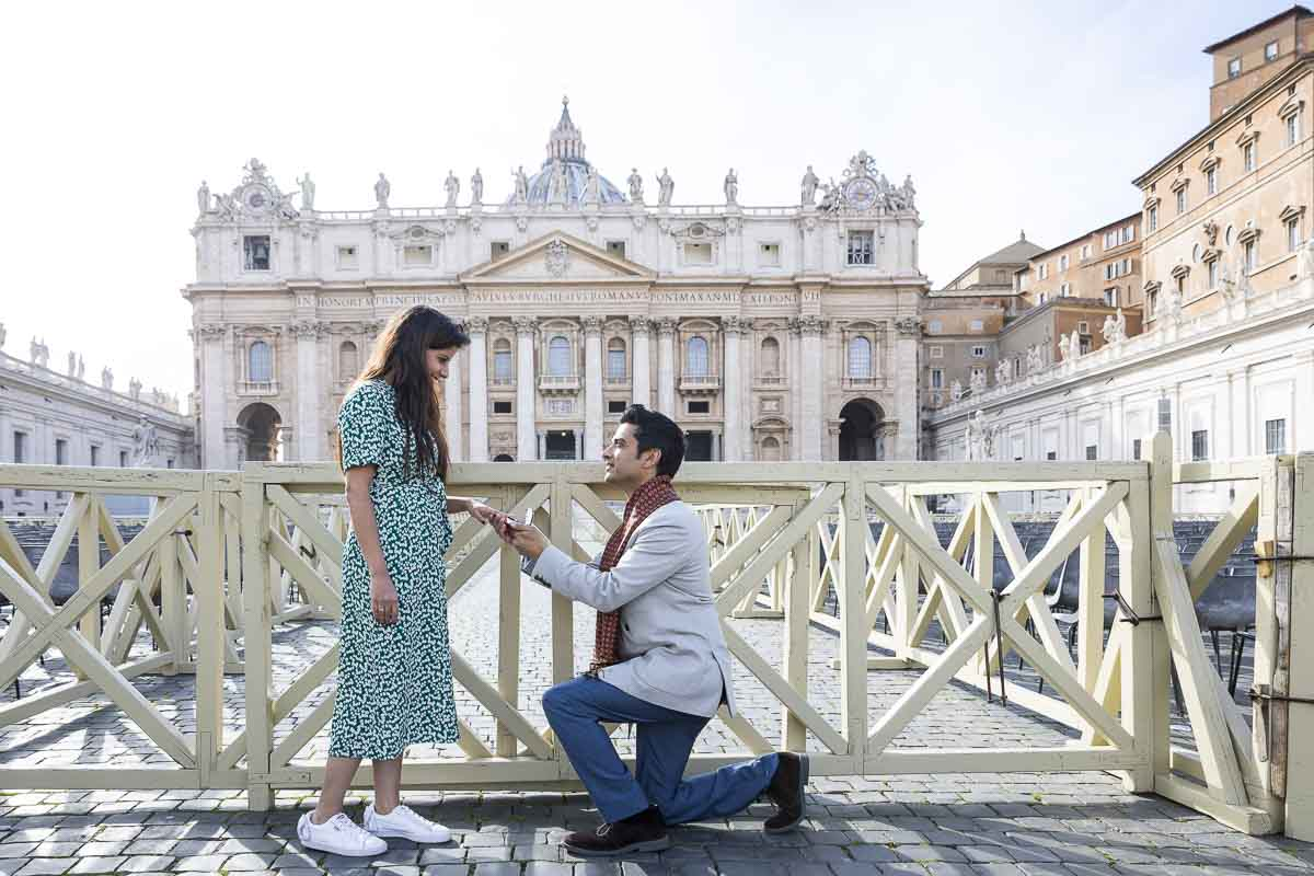 Proposing in Saint Peter's square in Rome's Vatican Italy