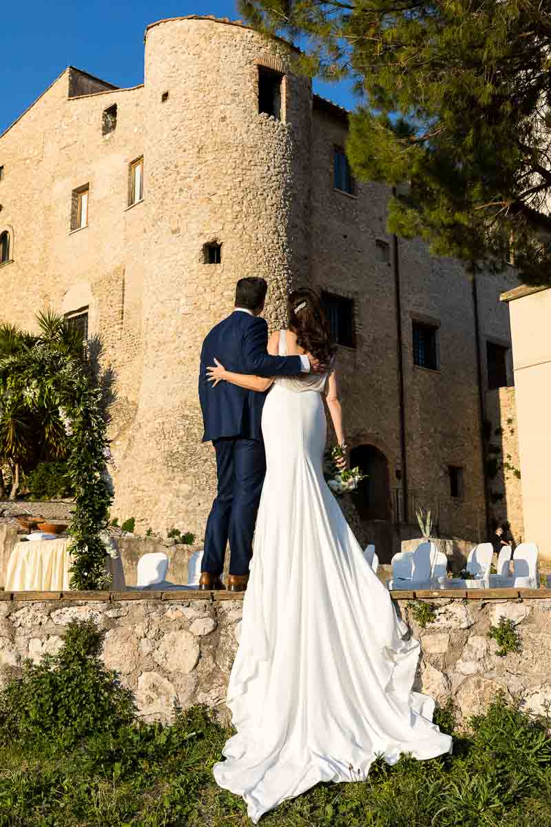 Bride & groom at Savelli Castle in Palombara Italy
