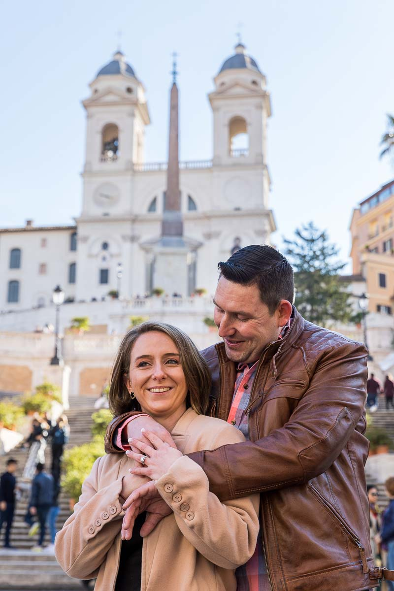 Close up portrait picture of a couple at the Spanish steps in Rome Italy