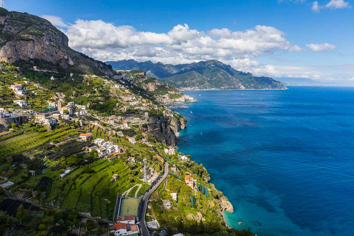 The Amalfi coast view from above