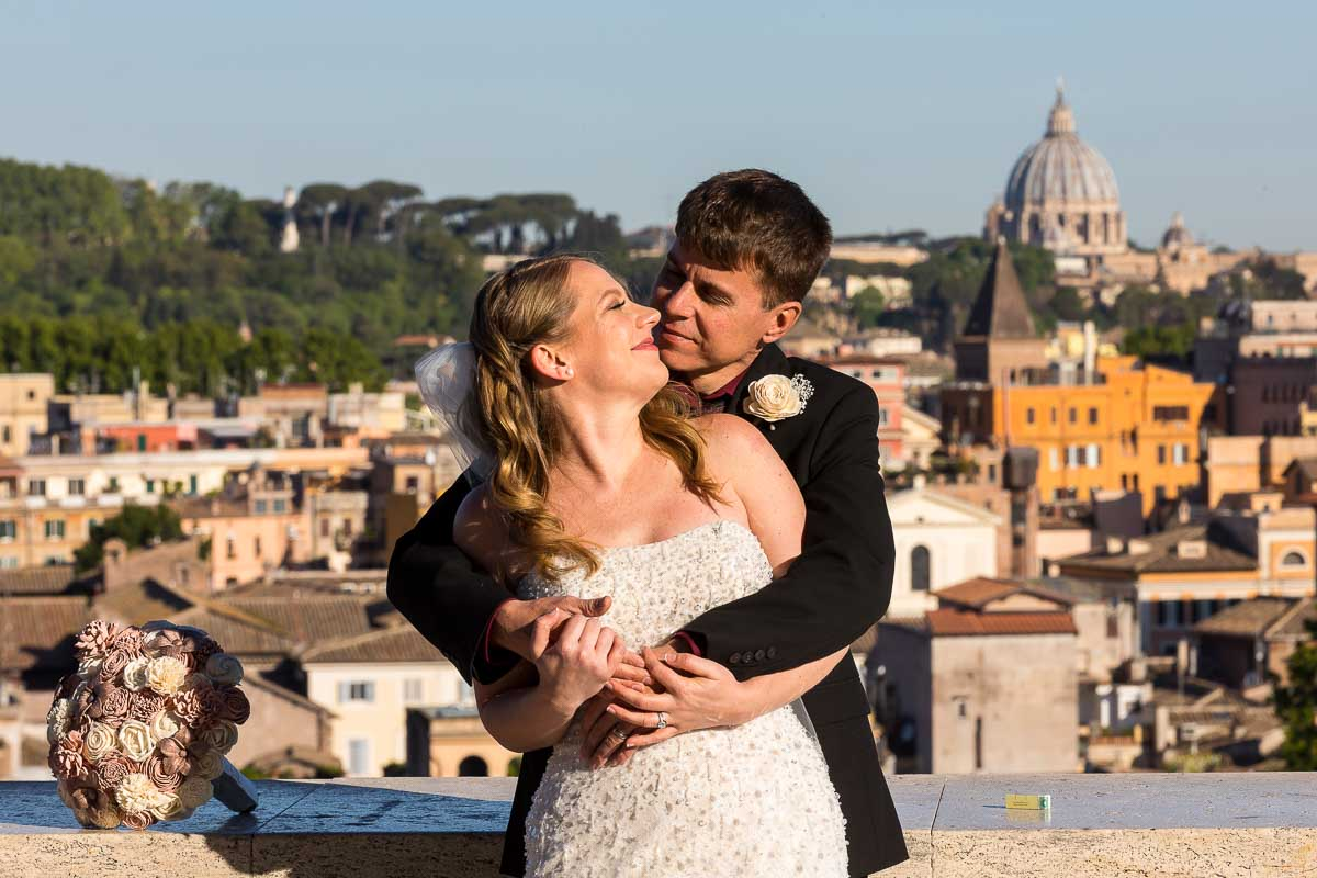 Newlywed portrait picture taken in front of the ancient roman city in the background