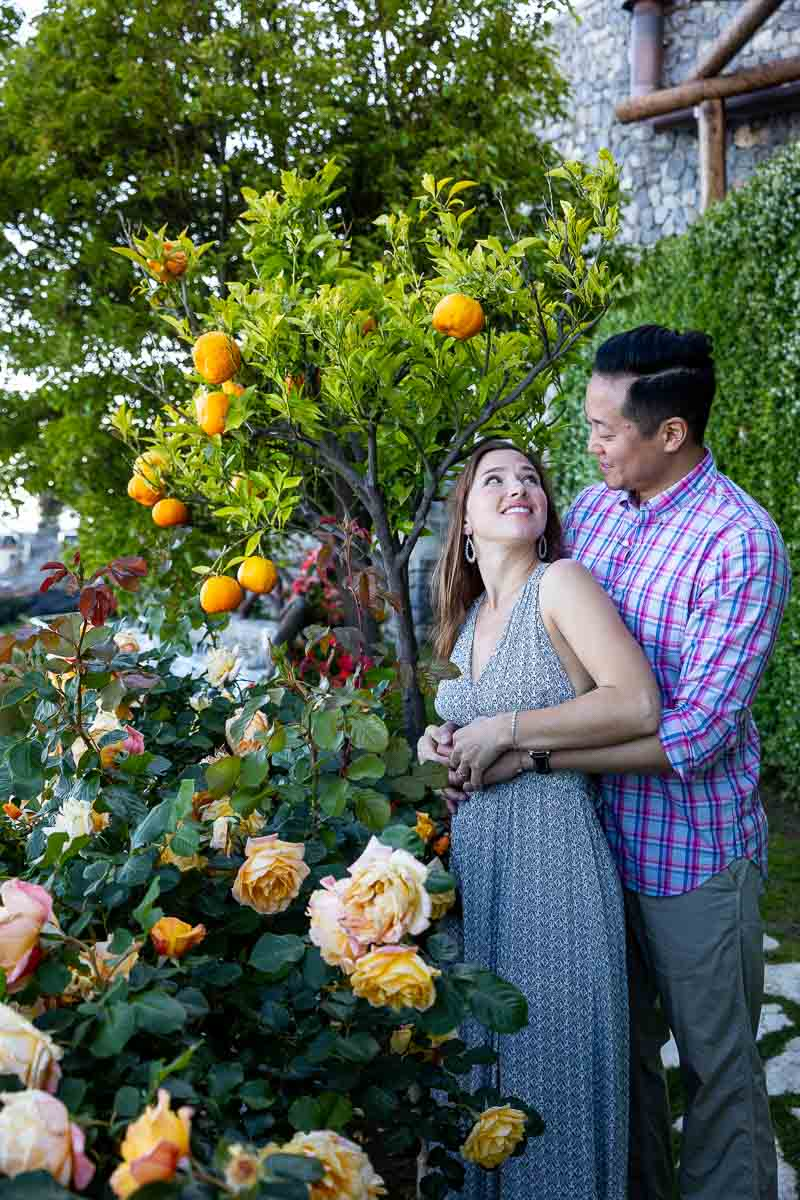 Couple portrait picture taken in the rose garden
