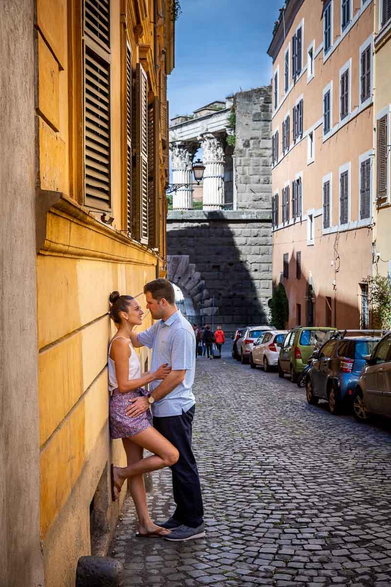 Roman cobblestone alleyway photography
