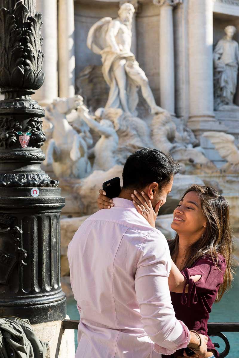 In love in Rome couple photo session at Fontanta di Trevi