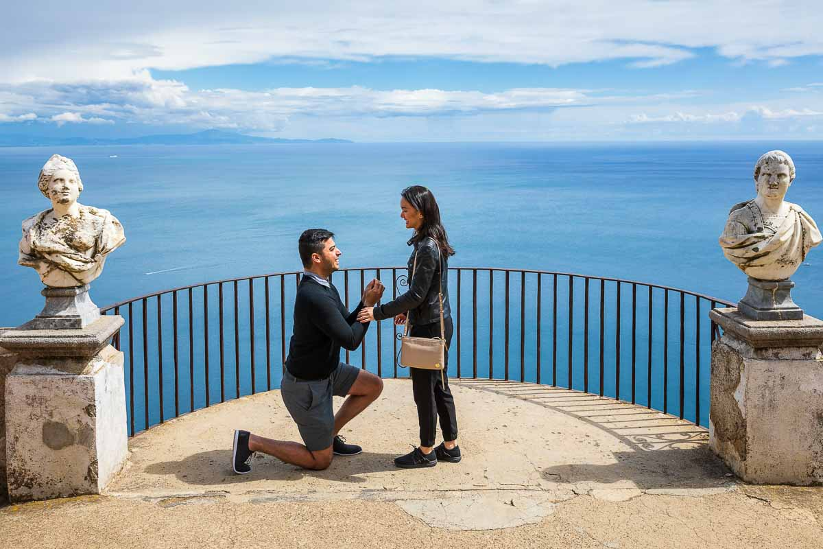 Surprise wedding proposal from Ravello in the Amalfi coast Italy
