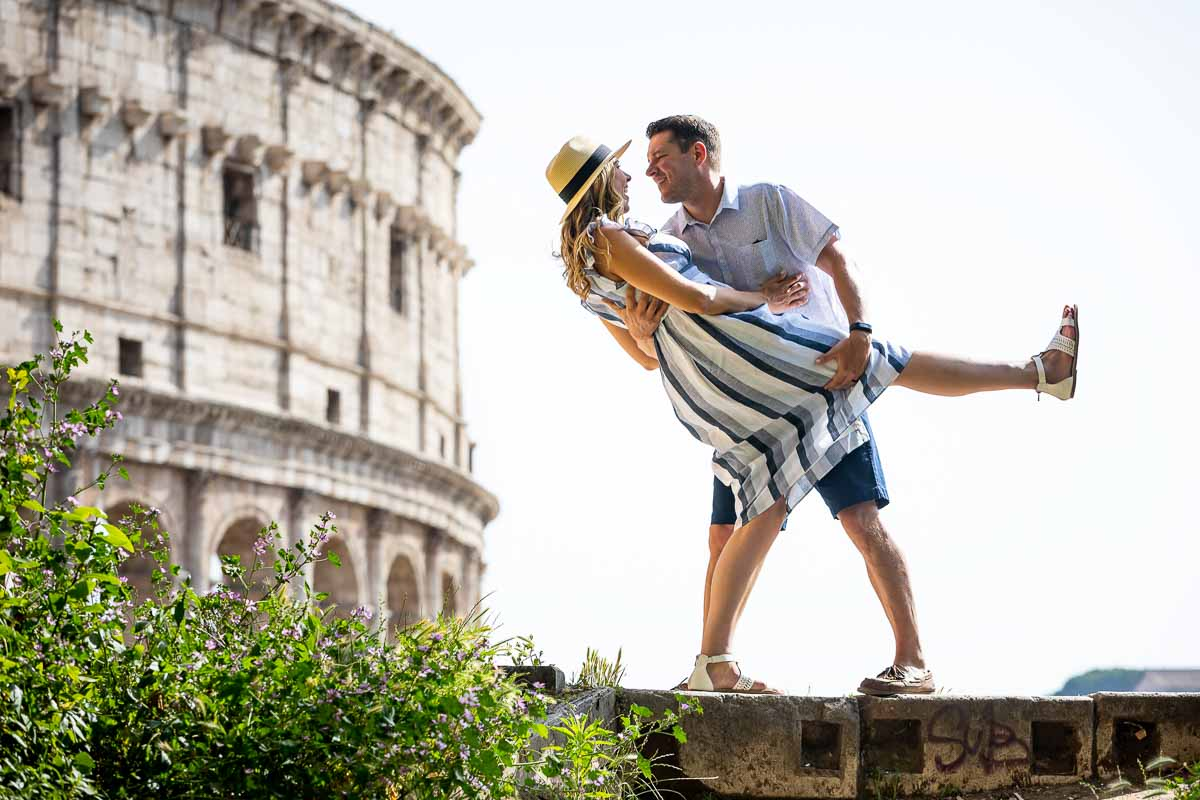 Destination honeymoon photo session at the roman Coliseum in Rome Italy