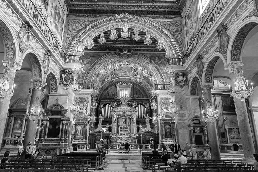 Black & White image of Church Santa Maria in Aracoeli in Rome