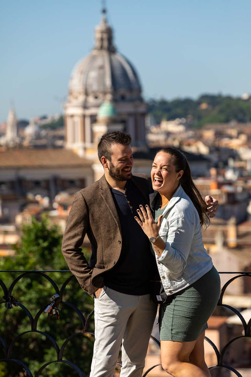 Couple portrait just engaged in Italy