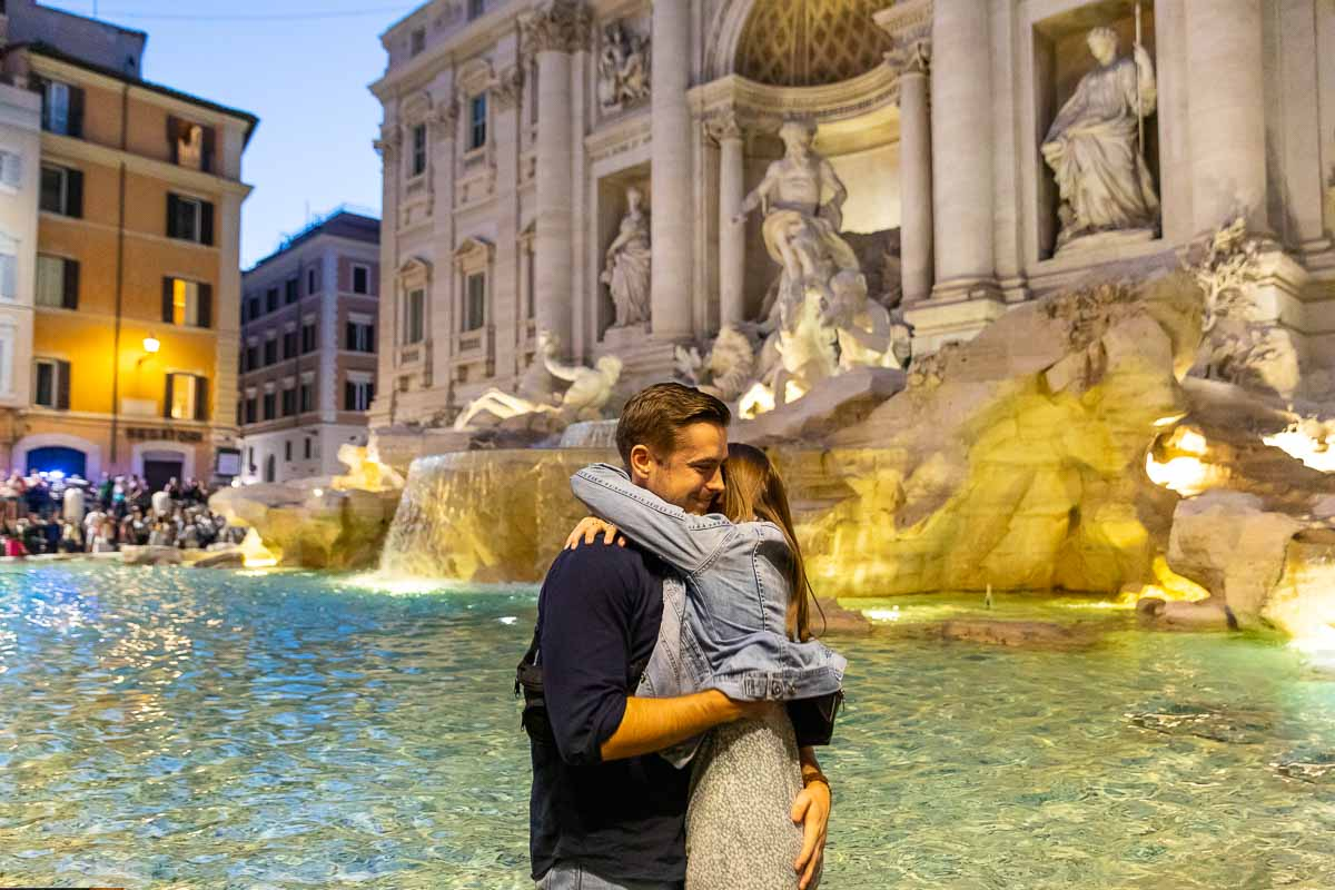 Couple just engaged in Rome Italy