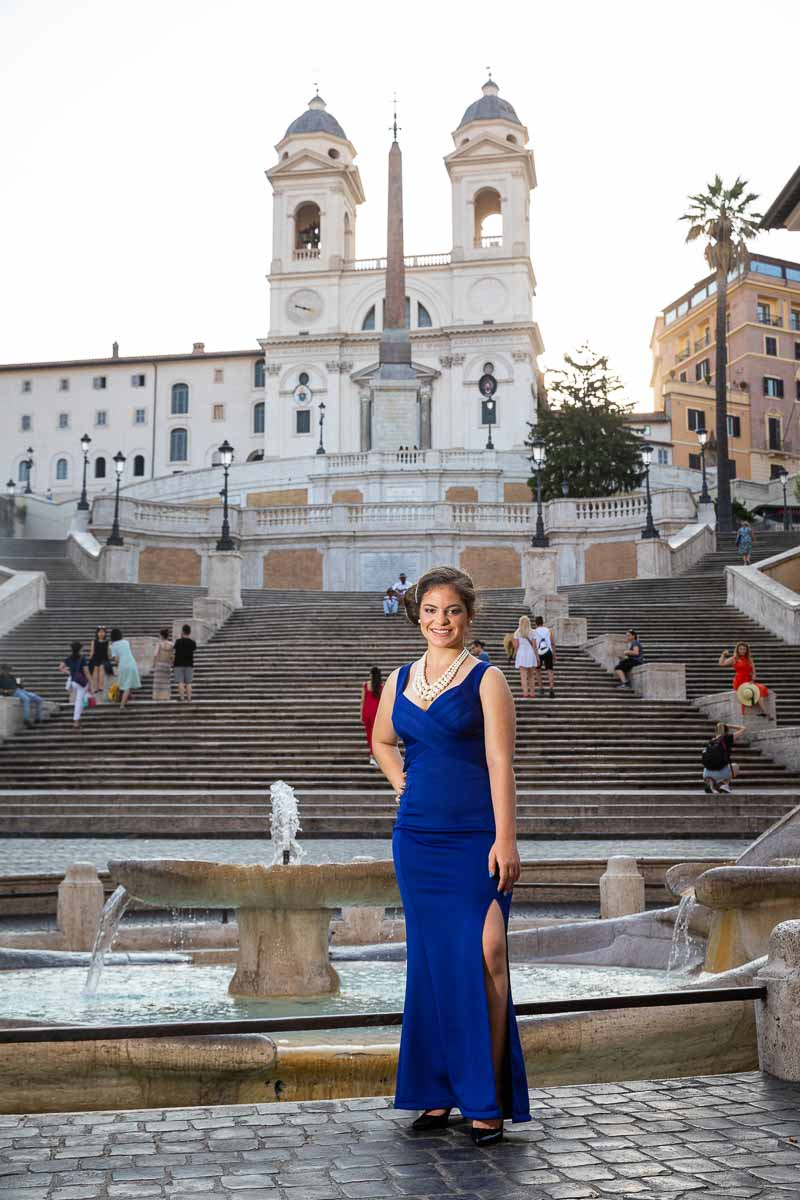 Posing with a blue dress at the Spanish steps