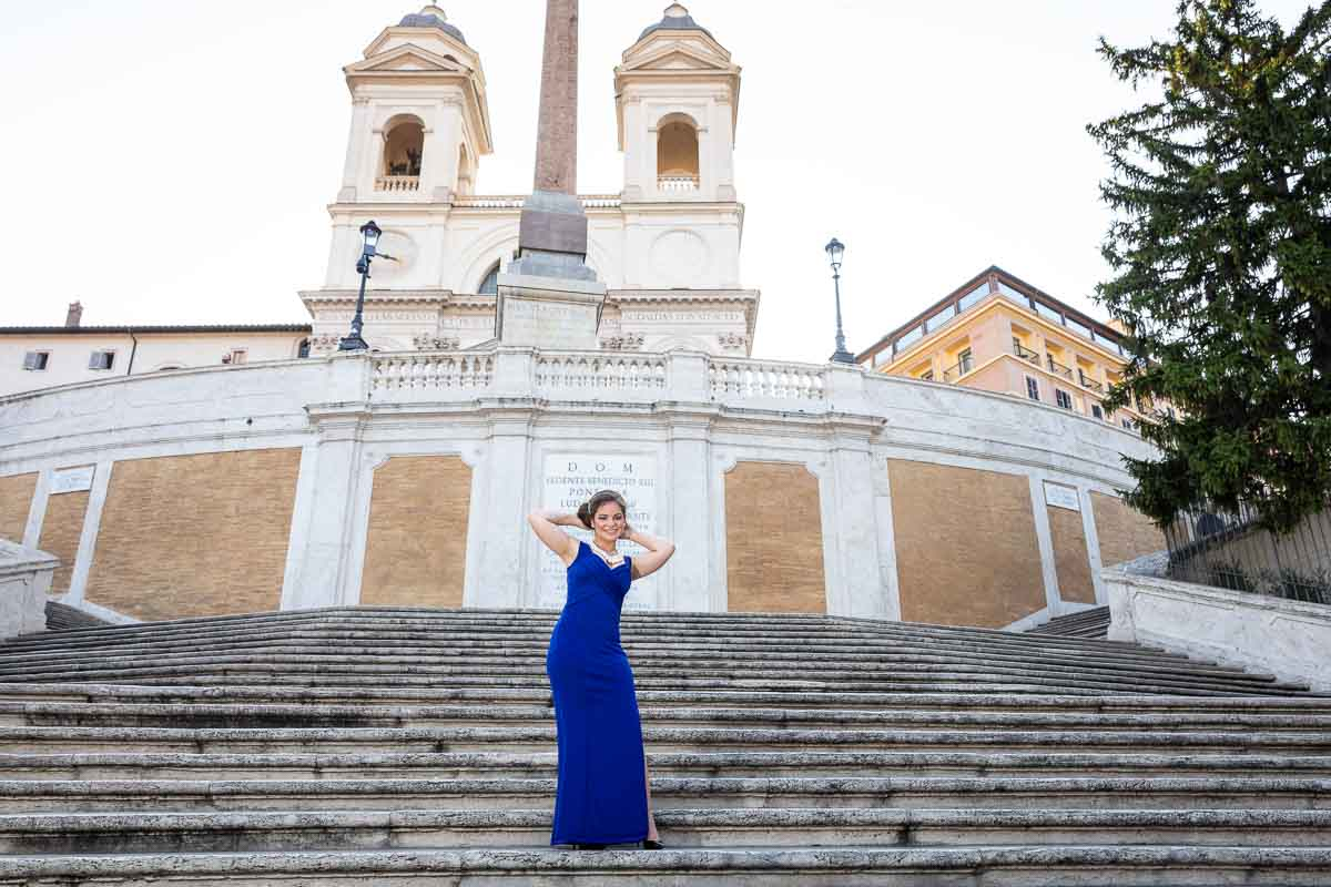 Blue dress pose before Church Trinità dei Monti