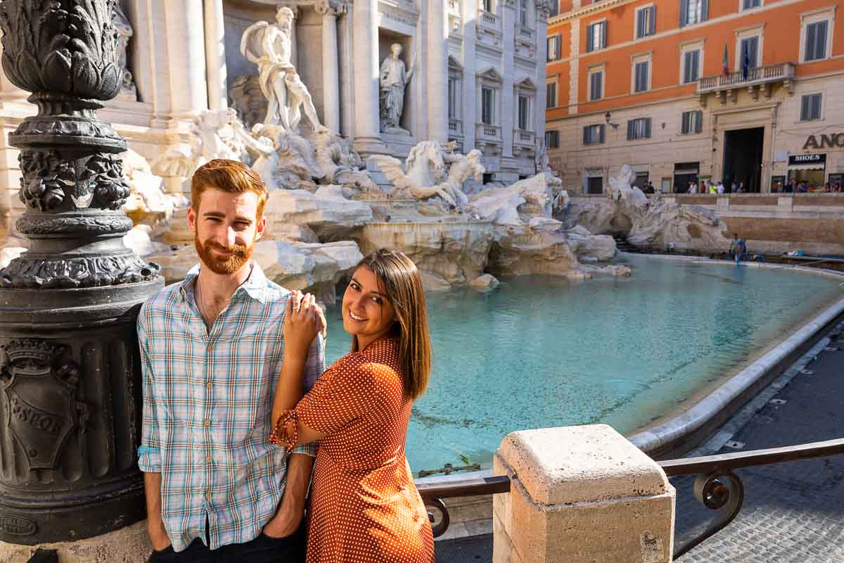 Posed together portrait at Fontana di Trevi