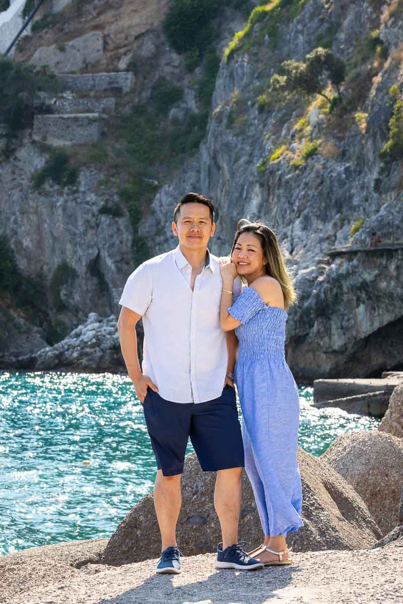 Couple posing together for a casual photo shoot in the Italian riviera