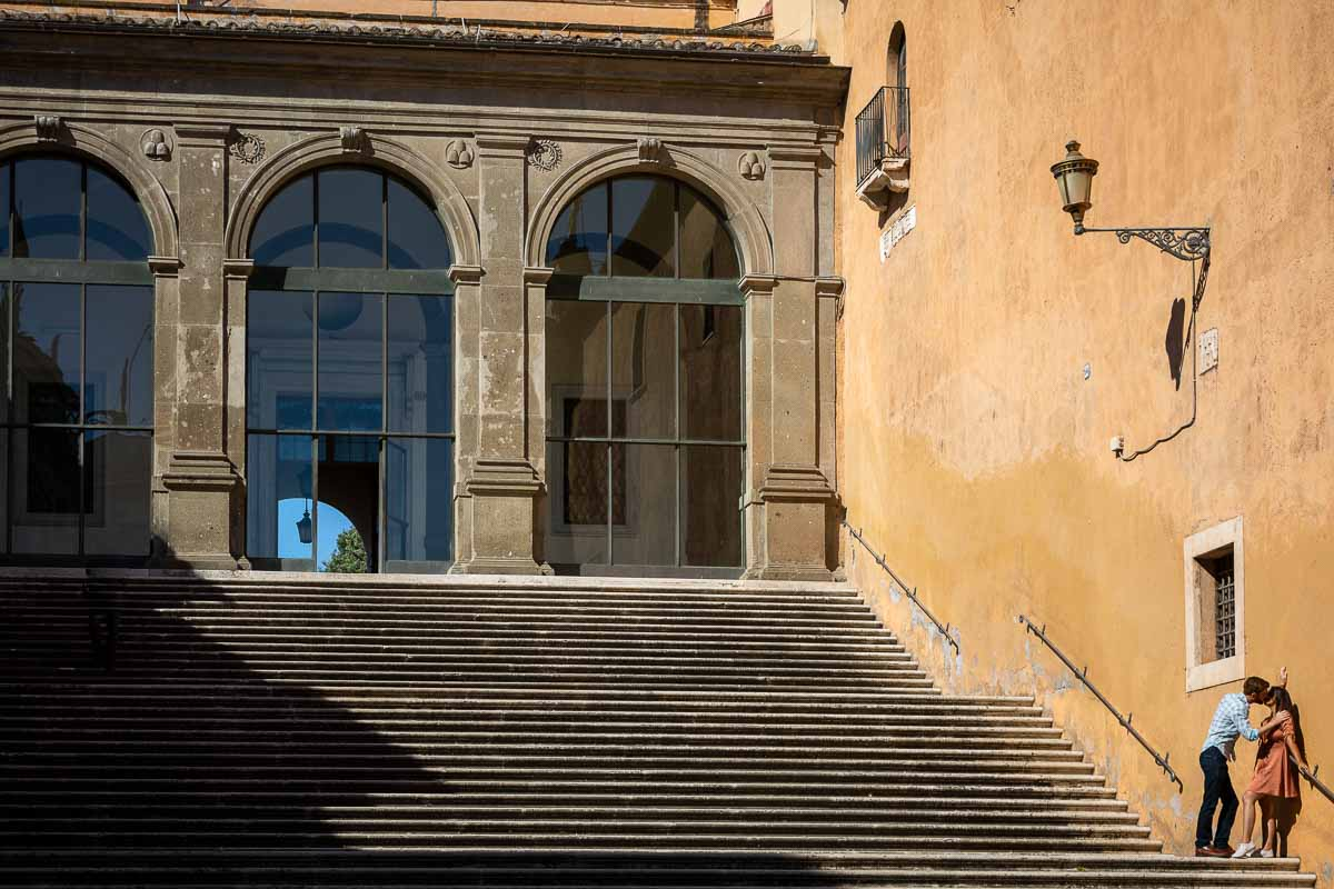 Artistic and exclusive photography on a large and scenic staircase in Campidoglio square