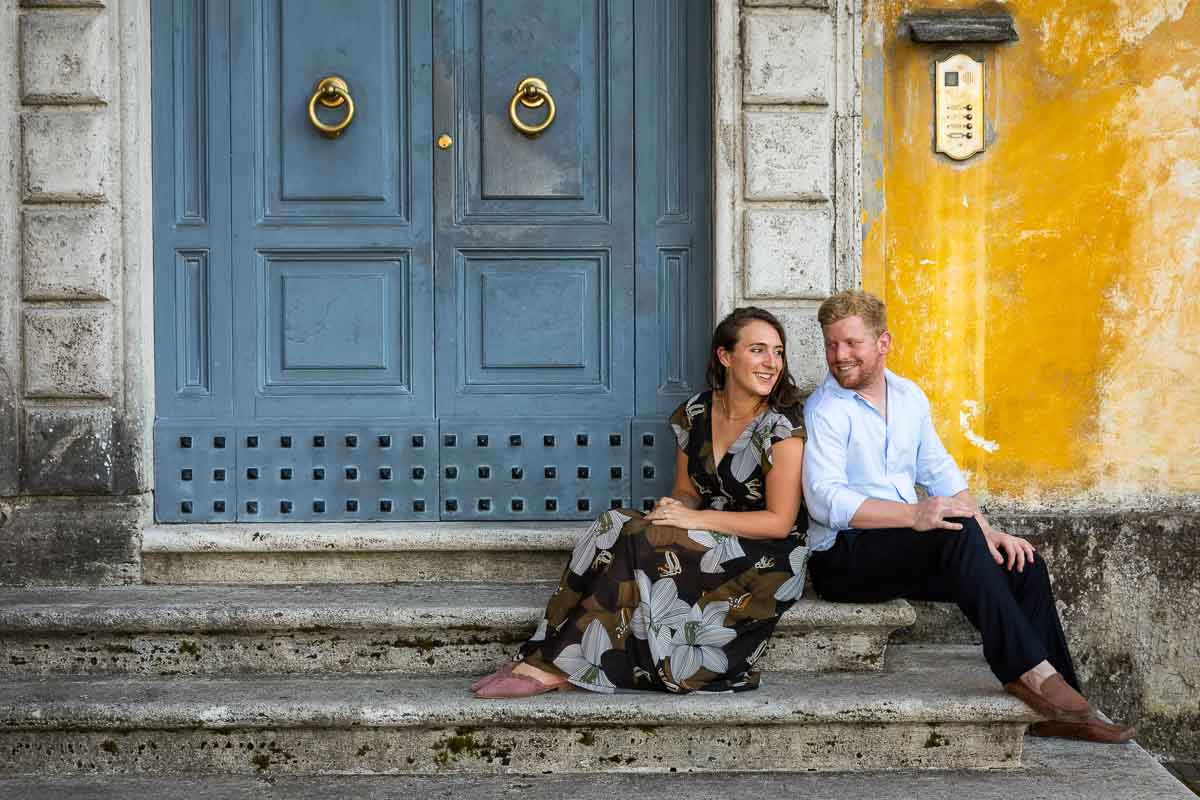 Posing sitting down image of being together and in love in Rome