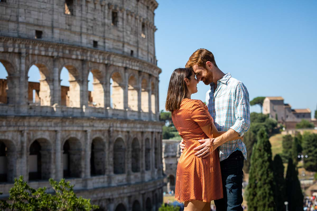 Posed photo honeymooning photography at the Roman Colosseum