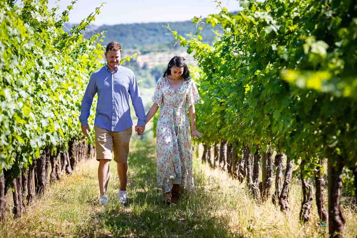 Walking together in between the vineyard