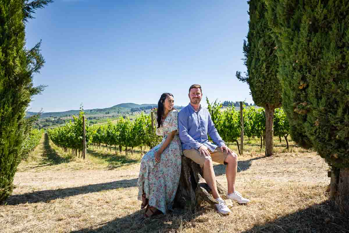 Sitting down in a tuscan countryside winery