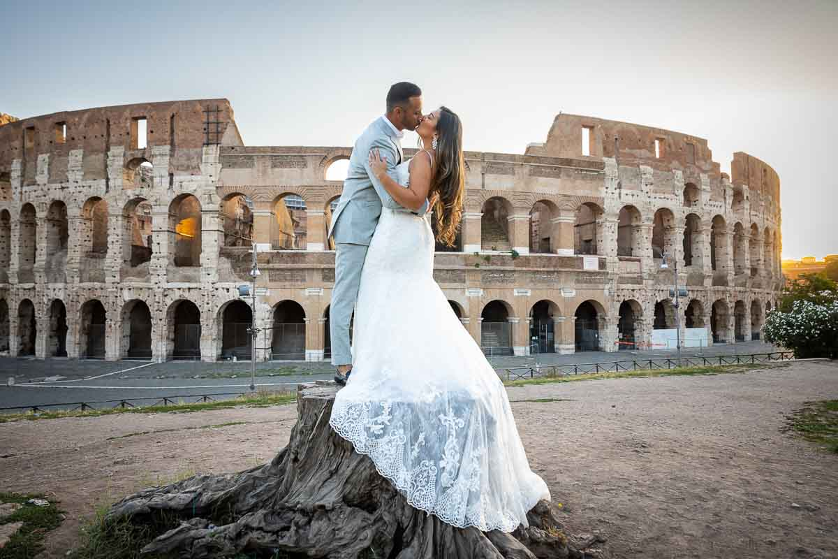 Bride and groom kissing shot during a Wedding Photography Service in Rome Italy