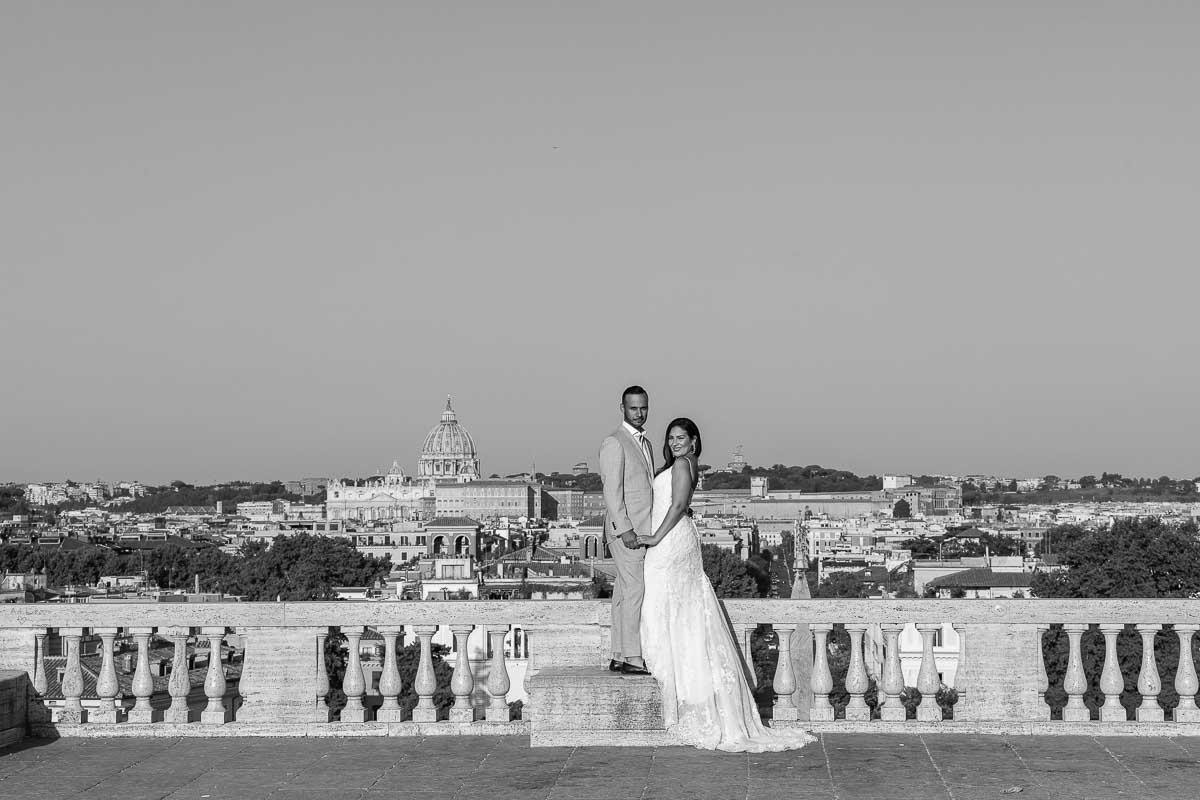 Belvedere overlook from Pincio terrace overlook over the city of Rome in Italy