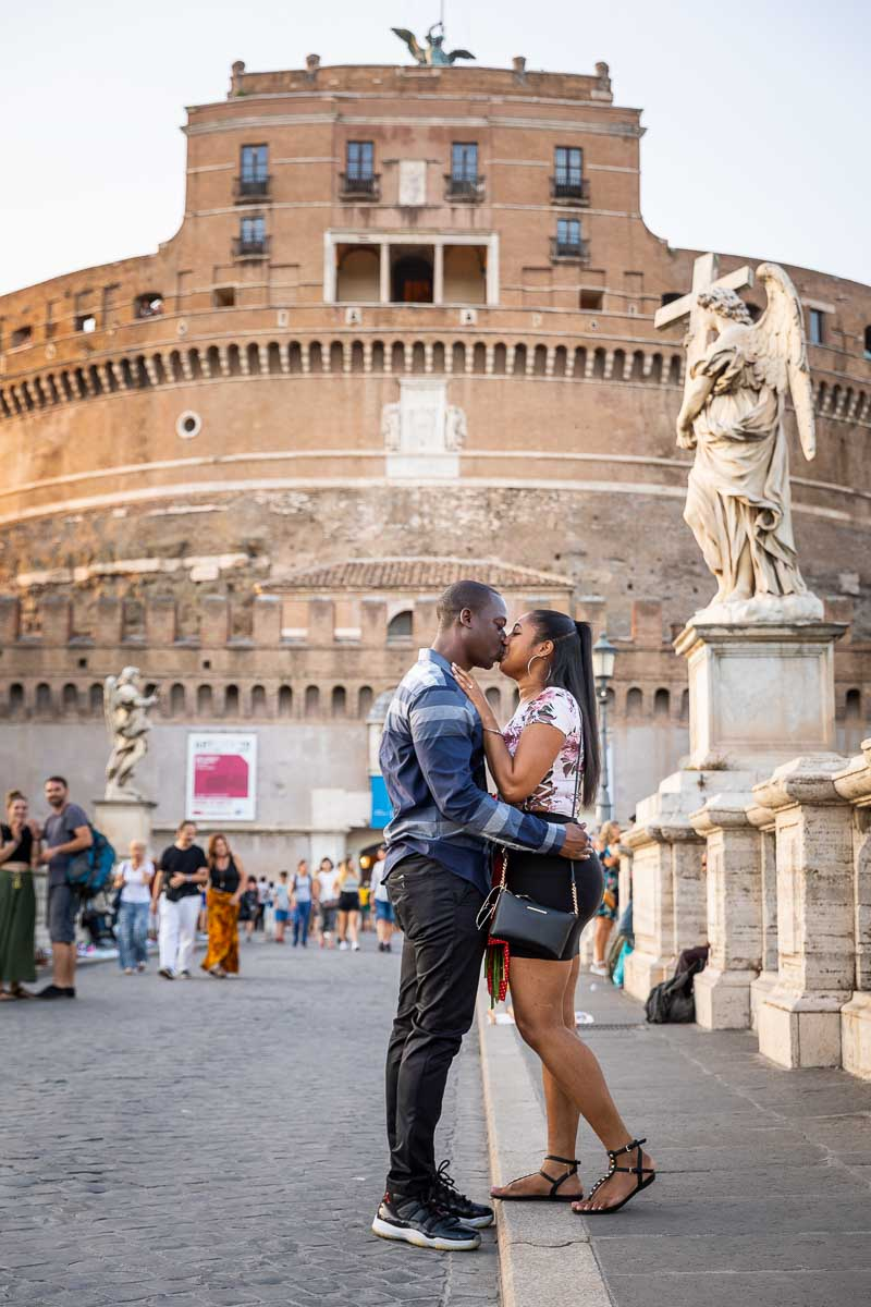 Just engaged in Rome Italy photographed on the angel castle