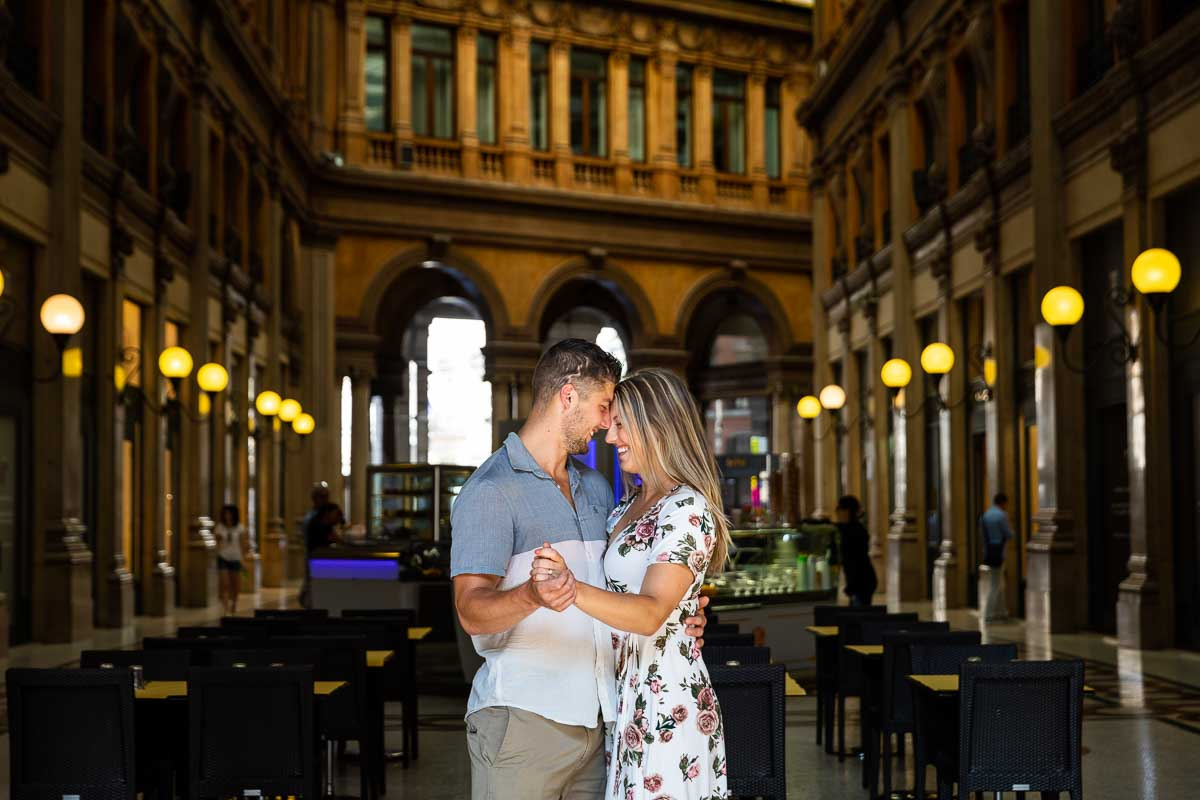 Couple portrait picture in a scenic location in Rome