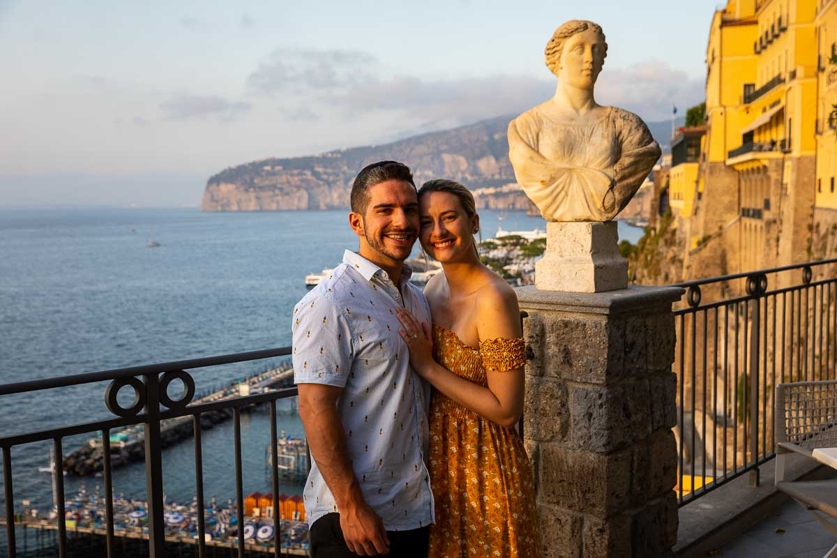 Just engaged couple portrait in front of the coastal view of the Amalfi coast