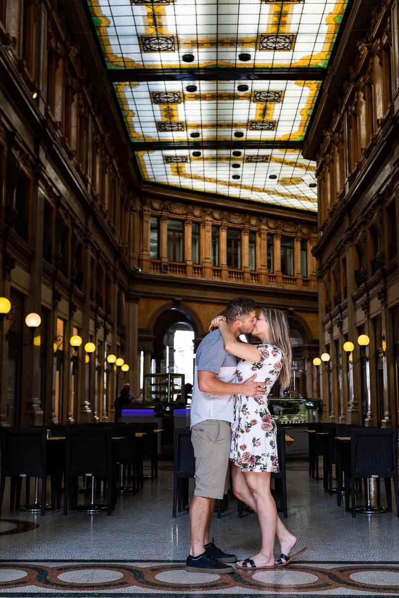 Engagement photo shoot in Galleria Alberto sordi in Rome