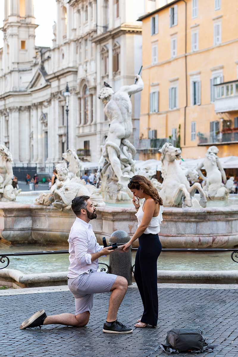 Wedding Marriage proposal at Piazza Navona in Rome Italy