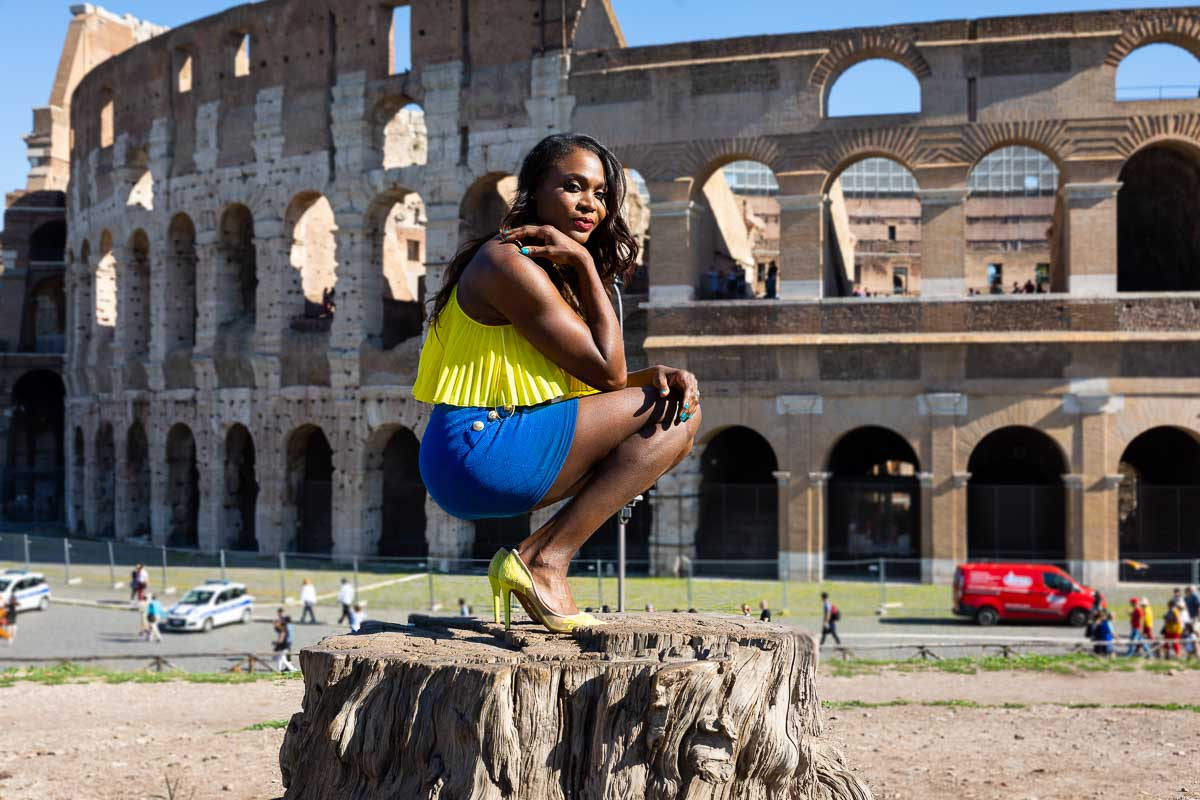 Crouched down female model portrait photography in Rome Italy