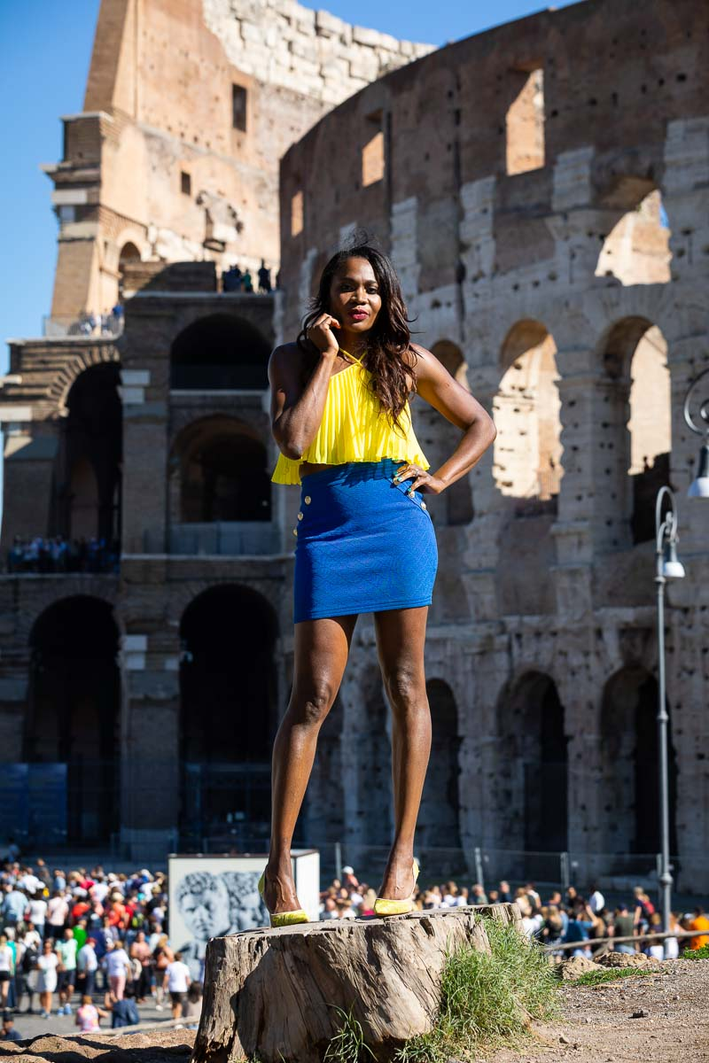 Standing up female portrait in Italy