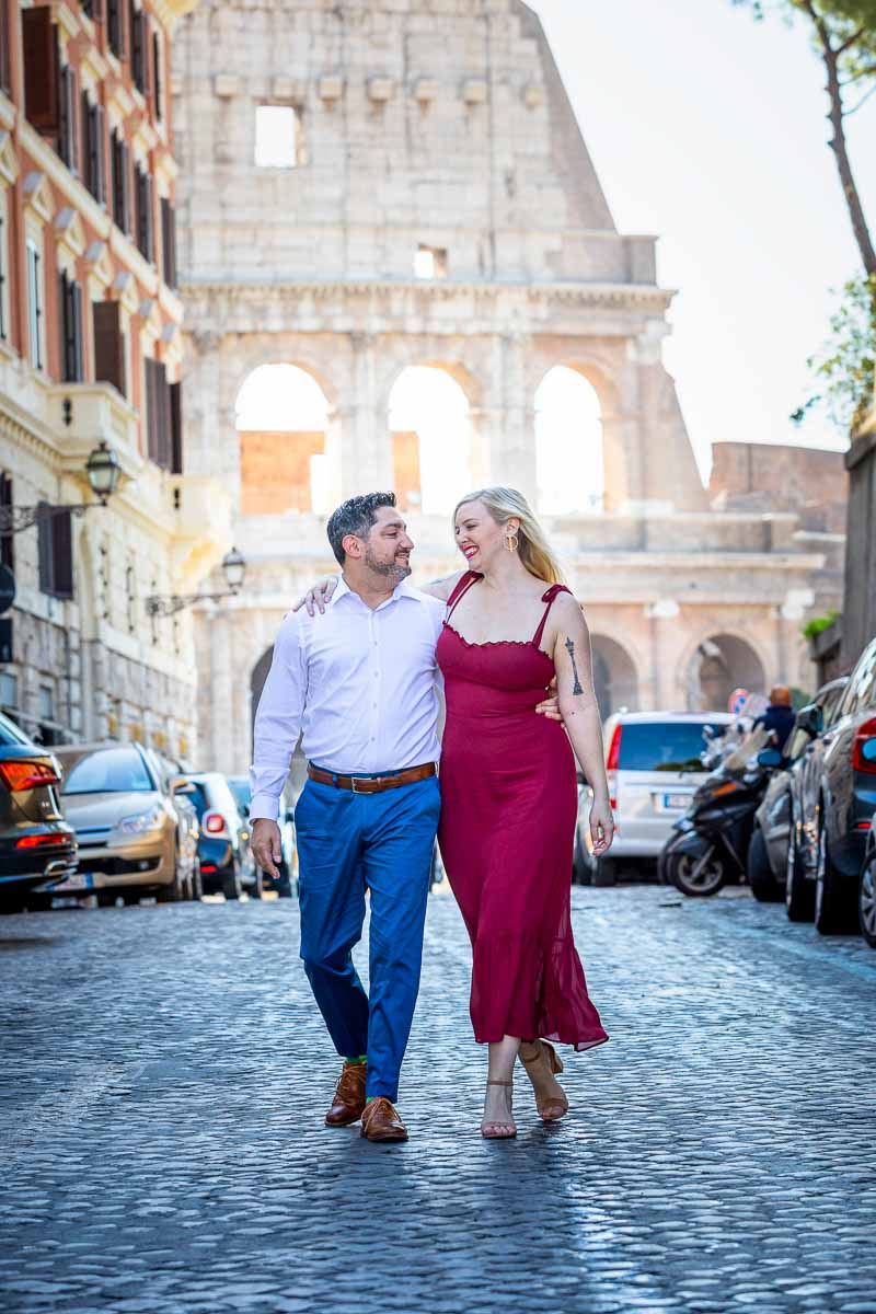 Waling in the street of Rome while on a couple photo shoot
