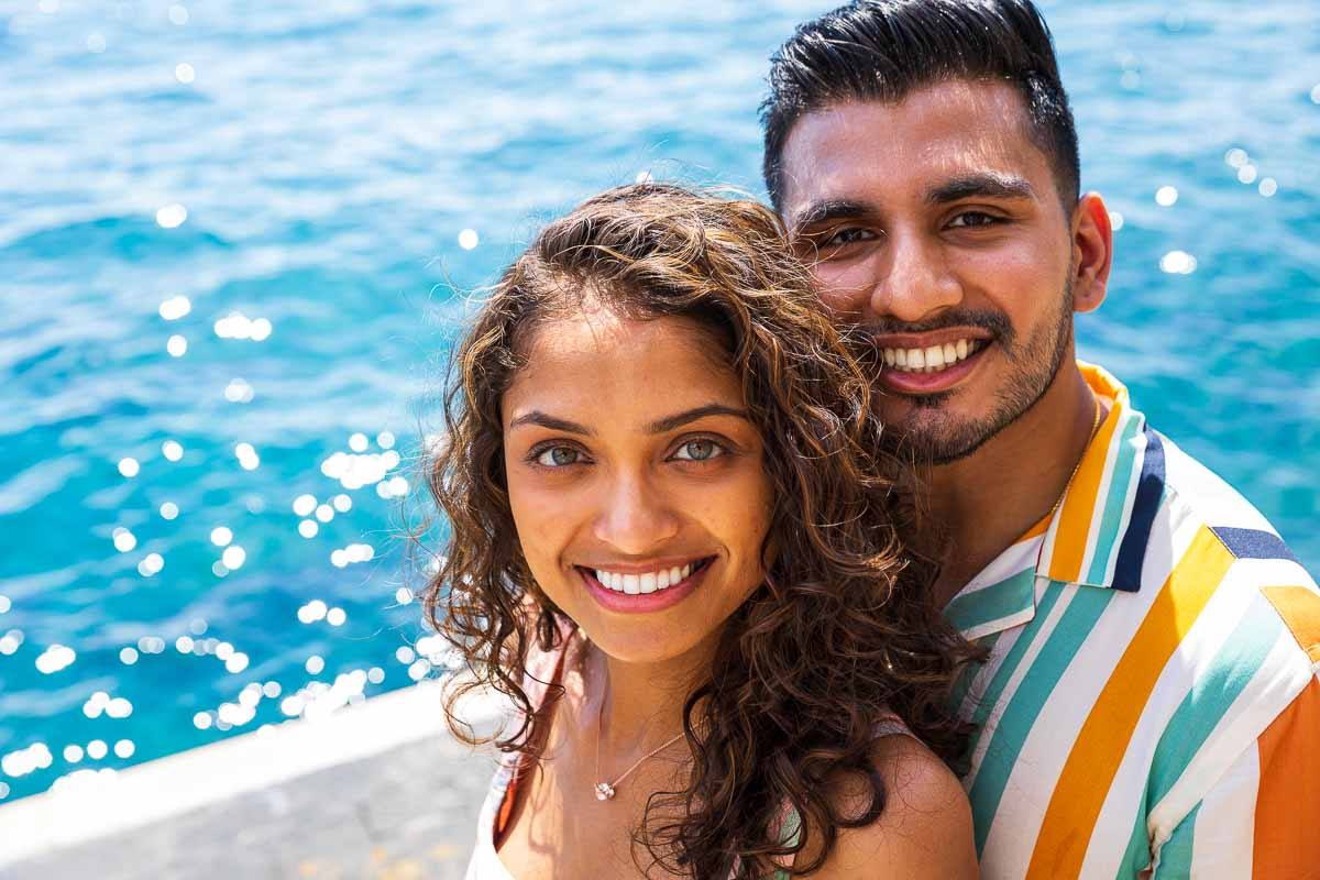 Couple portrait picture facial close up smiling and looking back