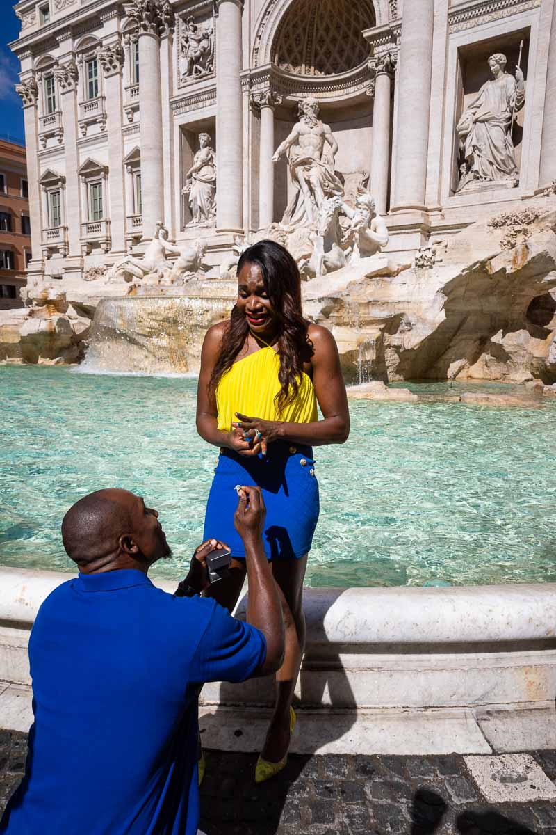 Surprise wedding proposal at the Trevi fountain